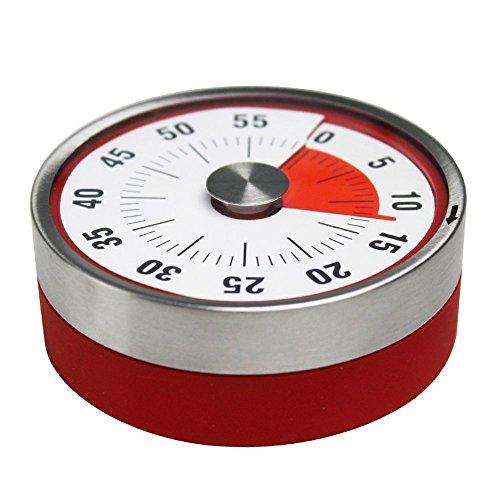 Mechanischer und Magnetisch Küchentimer 60 Minuten Countdown Kurzzeitmesser Analog Kurzzeitwecker für Küche  Kochen  Backen  Sport  Büro Rot