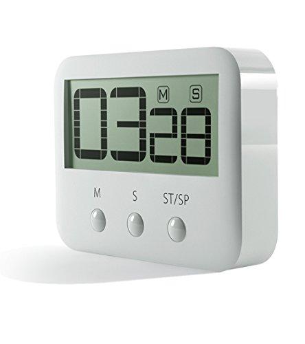 PINGKO Digitaler Küchentimer Große Ziffern Lauter Alarm Magnetische Unterstützung Stand Countup Countdown Timer Maximum bis 99 Minuten 59 Sekunden - Weiß