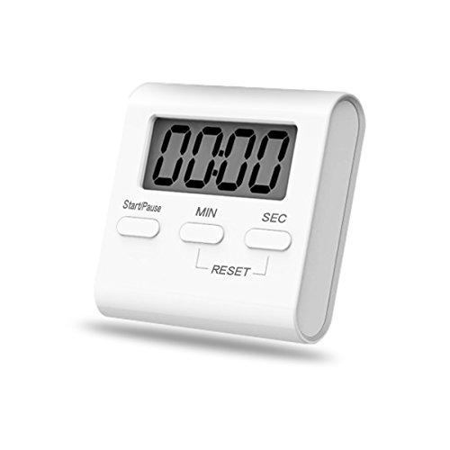 iitrust Digitaler Küchentimer Magnetische Stoppuhr Eieruhr Countdown Küchentimer mit Großem LCD Display Lautem Alarm Einklappbarem Ständer Kurzzeitmesser Küchenuhr für Küche Sport Spiel Weiß