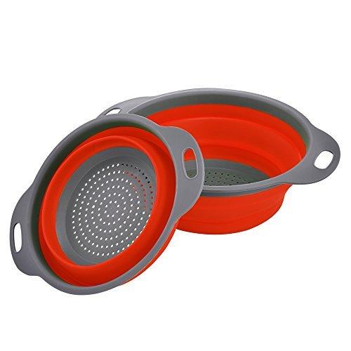 Enko Faltbarer Seiher Sieb Küche Silikon Klappbar Abtropfsieb Nudelsieb Umweltfreundlich Non-Toxic Leicht zu Reinigen 2 Größe Einschließlich 8 Und 95 Zoll Rot