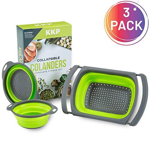 Kool Kitchen Pros 3er Sieb Set – Faltbare Siebe – BPA-freies Silikonsieb – Küchensieb als Nudelsieb Abtropfsieb Gebmüsesieb und Spülbeckensieb – Spülmaschinenfeste Seiher