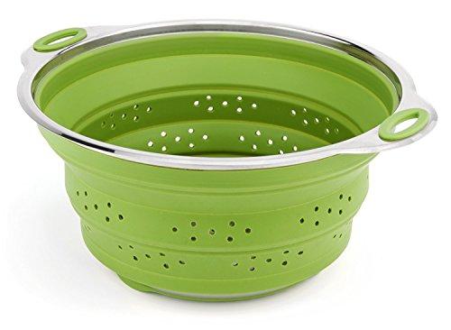 iNeibo Küchenseiher aus Silikon und Edelstahl faltbares Küchensieb Spülmaschinenfest Grün