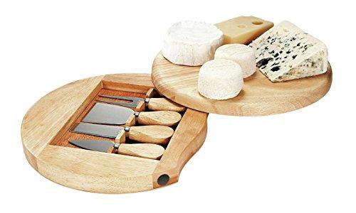 Hochwertiges Käse-Set mit Brett und 4 tlg Käsebesteck Käsemesser Käsebrett rundes Servier-Brett Käseplatte Käseschneider