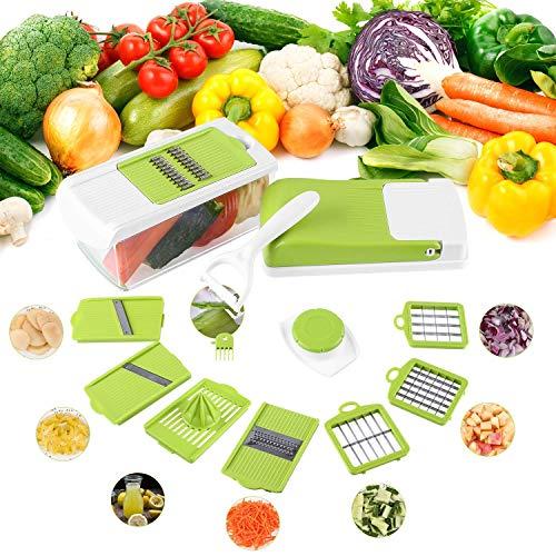 FIXKIT Gemüseschneider MandolineGemüsehobel 12 in 1 Austauschbare Klinge mit Schäler Obst Multischneider Gemüsehobel Gemüseschäler Gemüsereibe und Julienneschneider