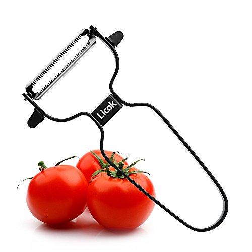 LICOK Sparschäler Sparschäler Edelstahl Obst- und Gemüseschäler mit extra scharfer Drehklinge und Anti-Rutsch-Griff als Kuchenhelfer