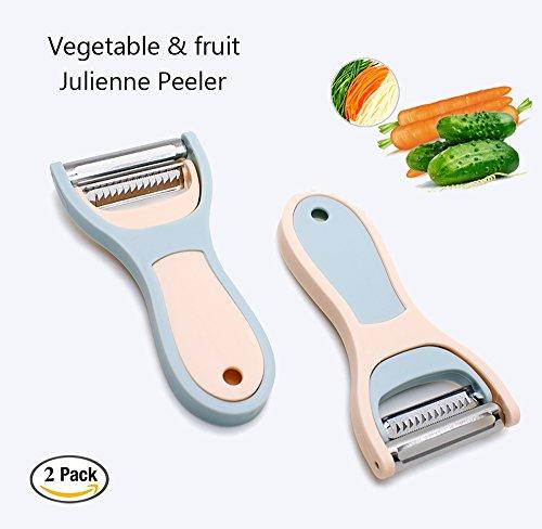Schäler Set Gemüseschäler Obstschäler Nansia Sparschäler 2-in-1 Julienne Schneider Edelstahl mit Reinigungsbürste und Verschlussclip Blau&Pink2