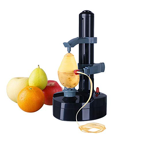Vicloon Kartoffelschäler Elektrischer Apfelschäler Gemüseschäler für Obst Gemüse Edelstahl-Klinge Schwarz Nicht Enthalt Aufladeeinheits