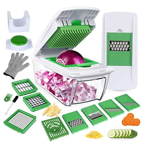 YRYP Gemüseschneider Gemüsehobel Kartoffelschneider 8 Austauschbare Klingen mit Schäler Obst Multischneider Gemüseschäler Julienneschneider für Alle Gemüse