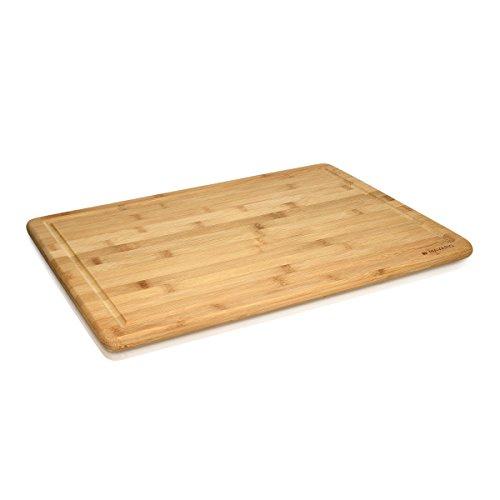 Navaris Bambus Schneidebrett Brettchen XXL - 48x35x18cm Küchenbrett messerschonend mit Saftrille - Küchen Holz Brett - Holzbrettchen Arbeitsplatte