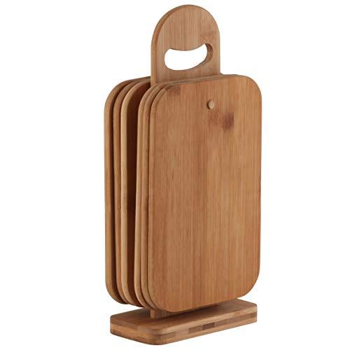 axentia Schneidebrett-Set 7 teilig - 6 Brettchen aus Bambus-Holz - Brettchenständer mit Frühstücksbrettchen - Holzbrett hohe Schnittfestigkeit schonend für Messerklinge - Brett für Küche
