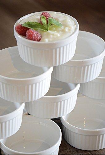 12 Stück Soufflé Souffle Förmchen Pastetenform Näpfchen - 11 cm Ø - Porzellan - 60 STÜCK zum BESTPREIS