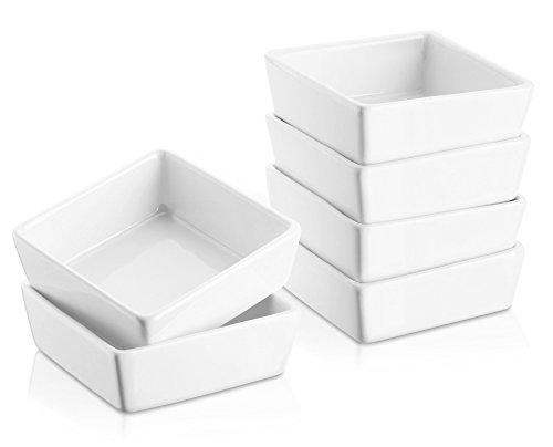 DOWAN 6er-Set Soufflé Souffle Förmchen Pastetenform Näpfchen Auflaufförmchen aus Porzellan 9 cm Ø  33 cm Höhe für Fondants Creme Brûlée oder Muffins Weiß