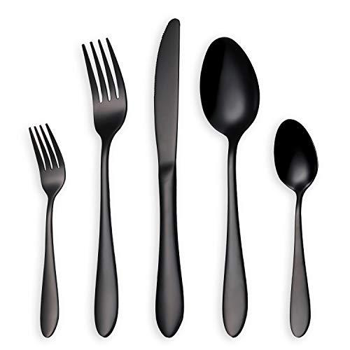HOMQUEN Glänzend Schwarzes BesteckBesteck Set 30 Stück Edelstahl Messer Gabel Löffel Set für 6 Personen schwarz 6 Sets
