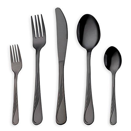 HOMQUEN 30 Stück Edelstahl Besteck Set schwarz Besteck Set Messer Gabeln Löffel Set für 6 Personen schwarz 6 Sets